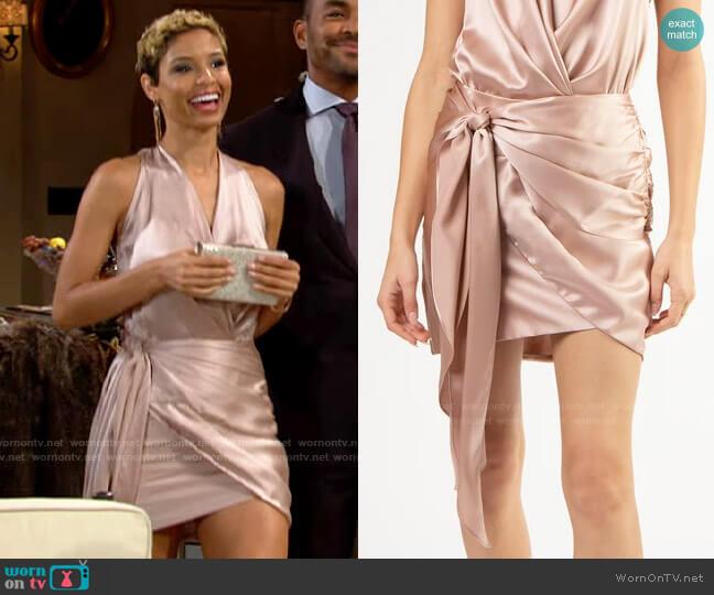 Michelle Mason Tie Wrap Mini Skirt worn by Elena Dawson (Brytni Sarpy) on The Young & the Restless