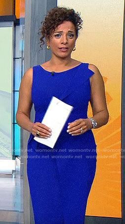 Michelle Miller's blue sheath dress on CBS Saturday Morning