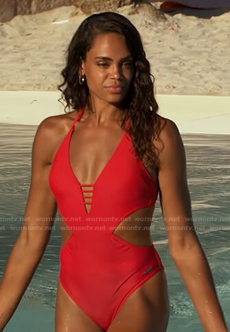Michelle's red cutout swimsuit on The Bachelorette