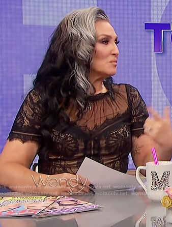 Michelle Visage's black lace dress on The Wendy Williams Show