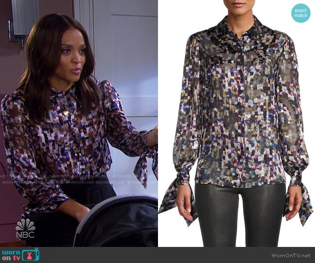 Painted-Print Tie-Cuff Blouse by Milly worn by Lani Price (Sal Stowers) on Days of our Lives