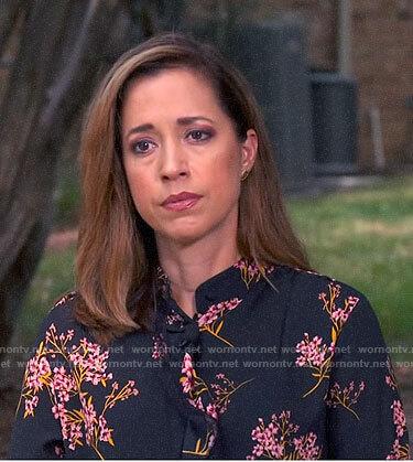 Mireya Villarreal's black and pink floral blouse on CBS Saturday Morning