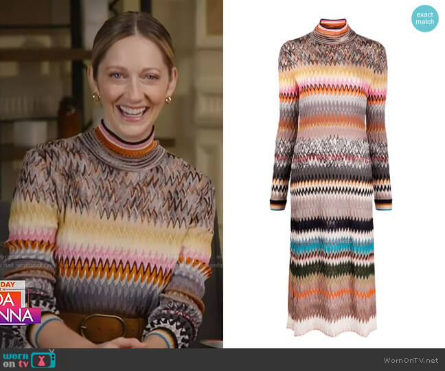 Knitted Zigzag Dress by Missoni worn by Judy Greer on Today