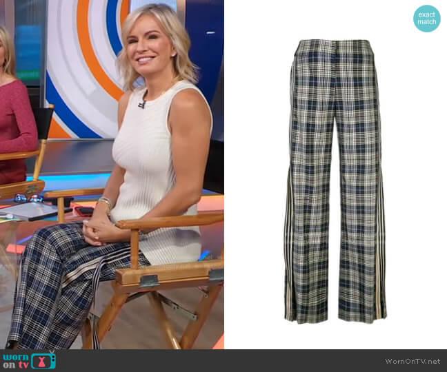 Racing Stripe Vintage Plaid Trousers by Monse worn by Dr. Jennifer Ashton  on Good Morning America