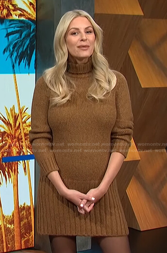 Morgan's brown turtleneck sweater dress and boots on E! News Daily Pop