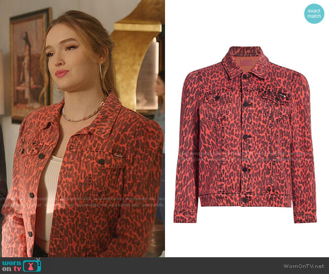 The Puffy Bruiser Leopard Jacket by Mother worn by Kirby Anders (Maddison Brown) on Dynasty