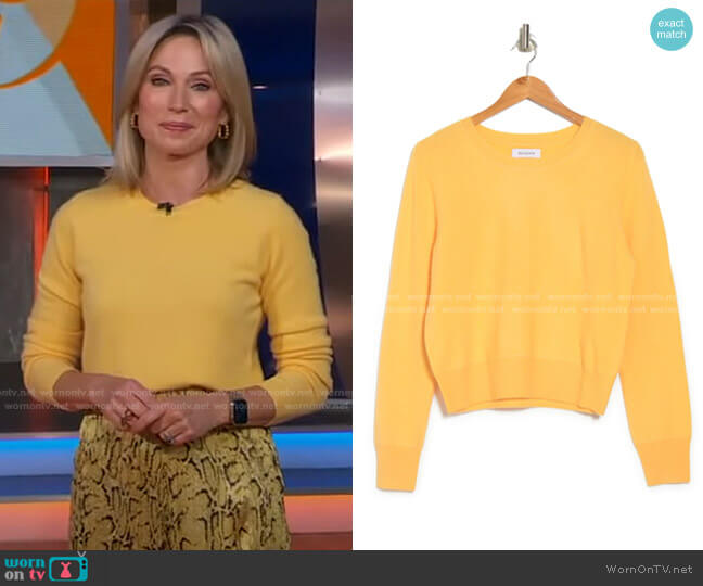 Cashmere Cropped Crew Neck Pullover by Naadam worn by Amy Robach  on Good Morning America