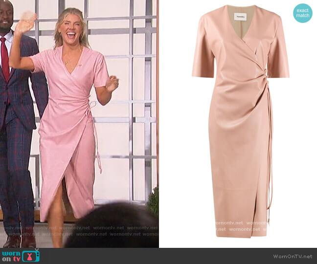 Helisa vegan leather wrap Dress by Nanushka worn by Amanda Kloots  on The Talk