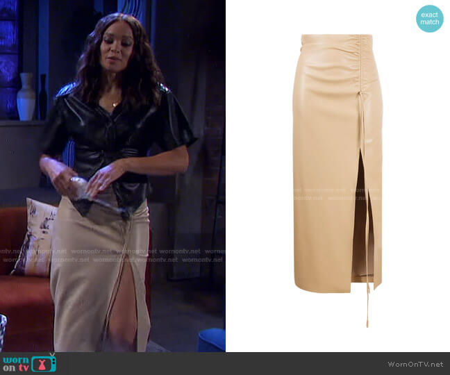 Malorie Ruched Front-Slit Skirt by Nanushka worn by Lani Price (Sal Stowers) on Days of our Lives