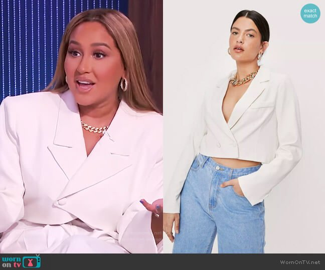Cropped Double Breasted Long Sleeve Blazer by Nasty Gal worn by Adrienne Houghton  on The Real