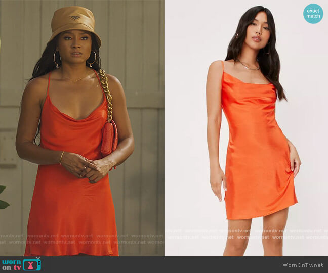Short Satin Effect Dress by Zara worn by Lauren Dupont (Rhyon Nicole Brown) on Our Kind of People