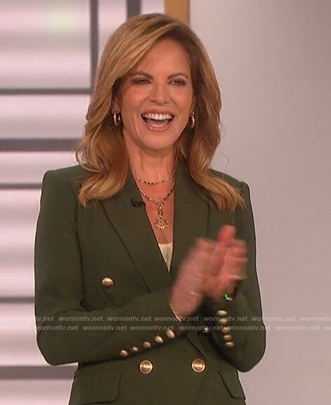 Natalie's green double breasted blazer on The Talk