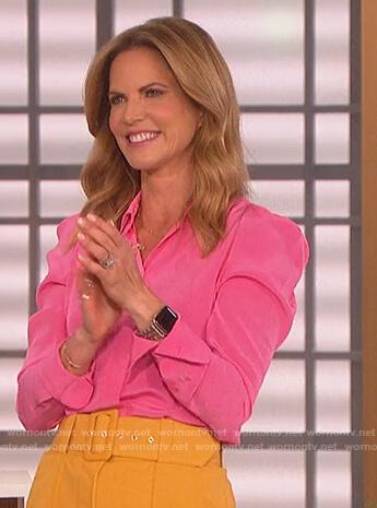 Natalie Morales' pink blouse on The Talk