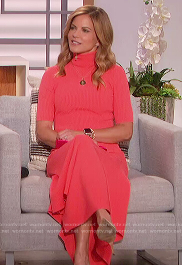 Natalie's coral ribbed asymmetric dress on The Talk