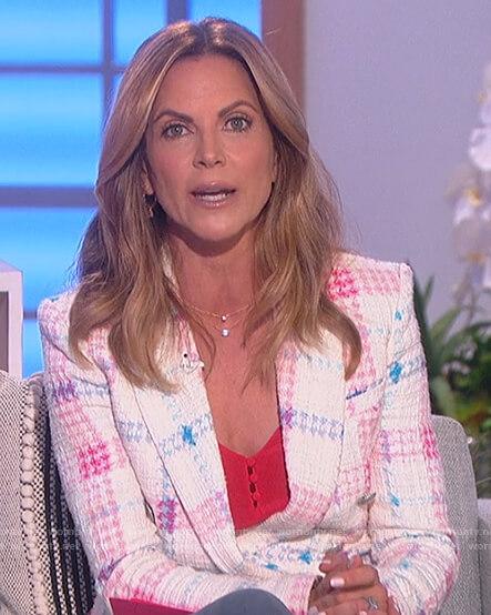 Natalie's white plaid tweed blazer on The Talk