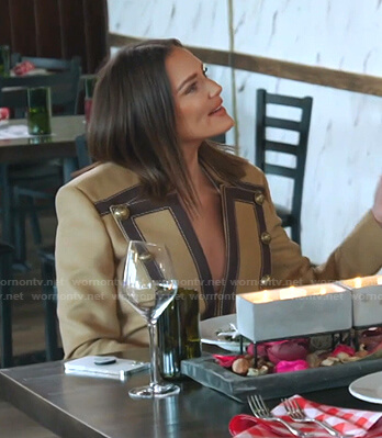 Meredith's beige paneled blazer on The Real Housewives of Salt Lake City