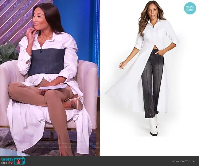 Maxi Length Poplin Drama Top by New York and Company worn by Jeannie Mai  on The Real