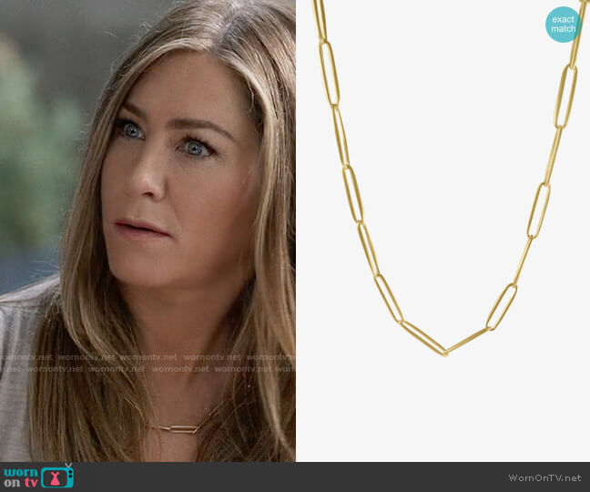 Nicole Landaw 14k Solid Long Link Chain worn by Alex Levy (Jennifer Aniston) on The Morning Show