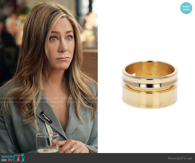 Nicole Landaw Gold Rothko Double Band worn by Alex Levy (Jennifer Aniston) on The Morning Show