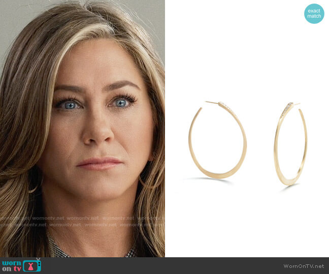 Nicole Landaw Diamond Wedge Hoops worn by Alex Levy (Jennifer Aniston) on The Morning Show