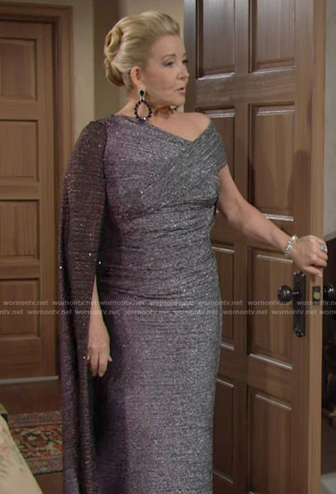 Nikki's metallic caped gown at Victoria and Ashland's wedding on The Young and the Restless