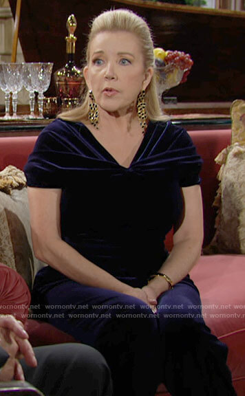 Nikki's navy blue velvet jumpsuit on The Young and the Restless