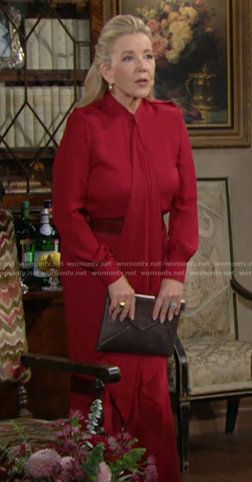 Nikki's red draped front blouse on The Young and the Restless