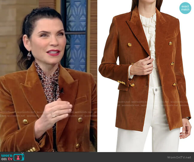 Francine Velvet Jacket by Nili Lotan worn by Julianna Margulies on Live with Kelly and Ryan