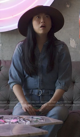 Nora's denim jumpsuit on Awkwafina is Nora From Queens