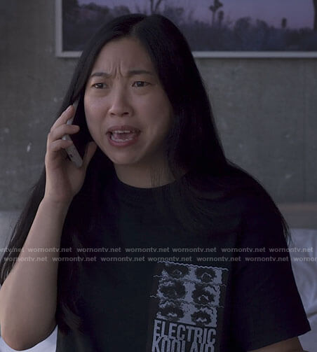 Nora's black Electric Koolaid t-shirt on Awkwafina is Nora From Queens