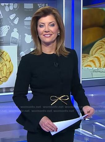 Norah's black bow belt peplum jacket on CBS Evening News