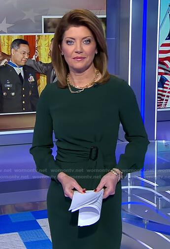 Norah's green buckle waist dress on CBS Evening News