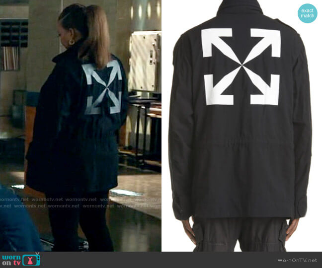 Off-White Arrow Military Field Jacket worn by Robyn McCall (Queen Latifah) on The Equalizer