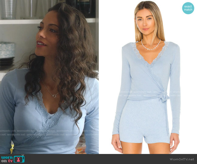 Curly Wrap Top by Only Hearts worn by Gabrielle Walsh on 9-1-1