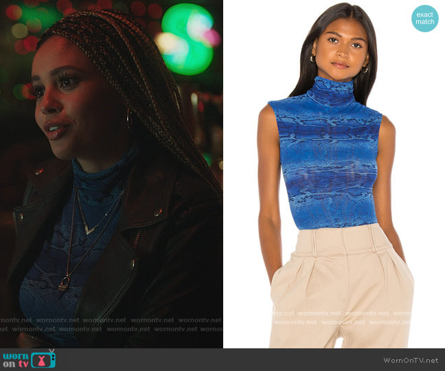 Printed Snake Tulle Mock Neck Bodysuit by Only Hearts worn by Toni Topaz (Vanessa Morgan) on Riverdale
