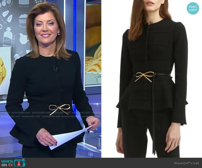 Bow Belt Virgin Wool Blend Peplum Jacket by Oscar de la Renta worn by Norah O'Donnell  on CBS Evening News