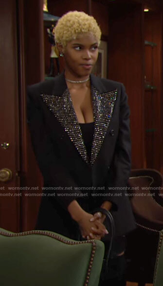Paris's black embellished lapel blazer on The Bold and the Beautiful