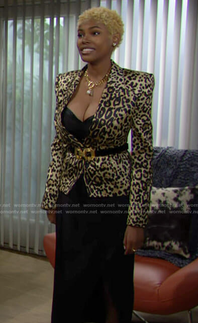 Paris's leopard print blazer on The Bold and the Beautiful