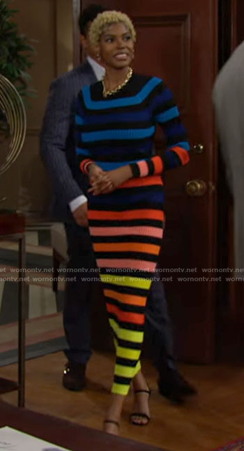 Paris's rainbow striped midi dress on The Bold and the Beautiful