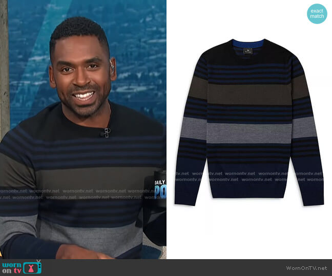 Multi-Stripe Merino Wool Pullover Sweater by PS Paul Smith worn by Justin Sylvester  on E! News