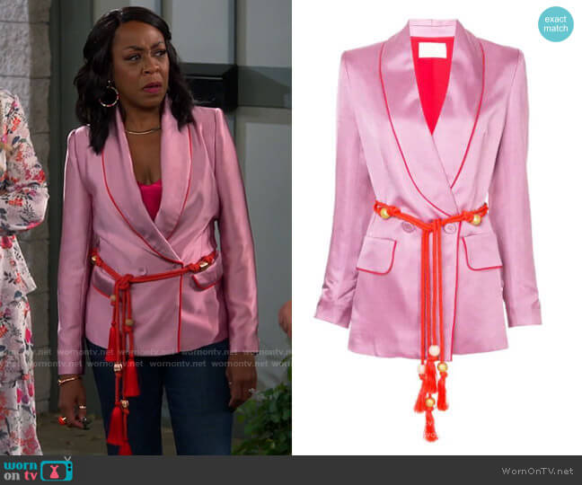 Peter Pilotto Belted Fitted Jacket worn by Tina (Tichina Arnold) on The Neighborhood