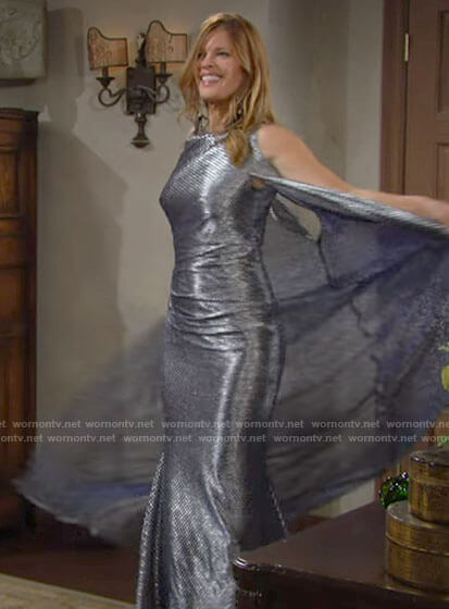 Phyllis's metallic cape gown at Victoria & Ashland's wedding on The Young and the Restless