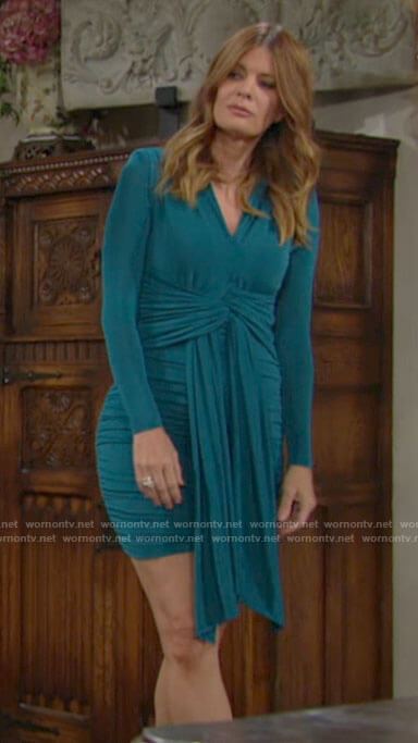 Phyllis's teal green ruched tie front dress on The Young and the Restless