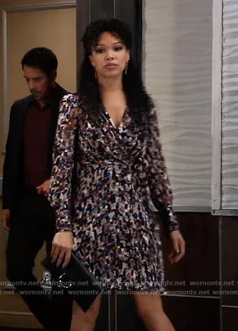 Portia's metallic wrap dress on General Hospital