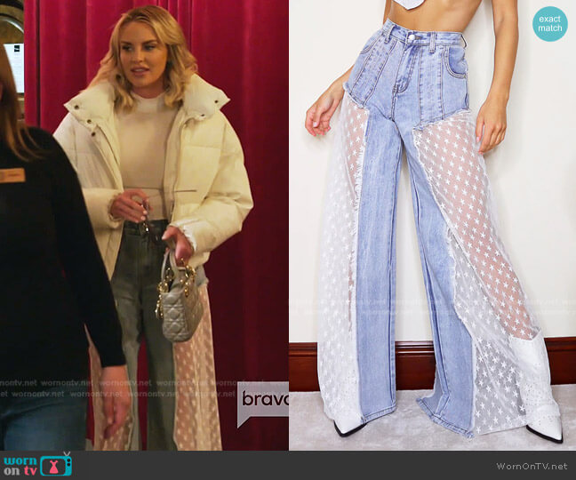 Star Sequin Mesh Cut Out Wide Leg Jeans by Pretty Little Thing worn by Whitney Rose  on The Real Housewives of Salt Lake City