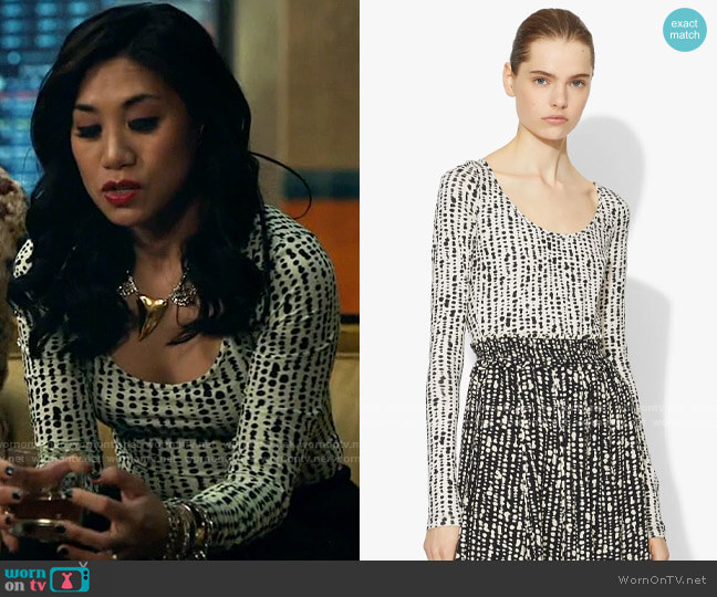 Proenza Schouler Inky Dot Scoop Neck Top worn by Melody Bayani (Liza Lapira) on The Equalizer