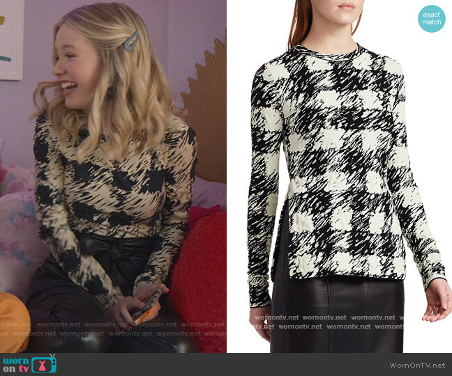 Gingham Jacquard Long-Sleeve Top by Proenza Schouler White Label worn by Stacey McGill (Shay Rudolph) on The Baby-Sitters Club