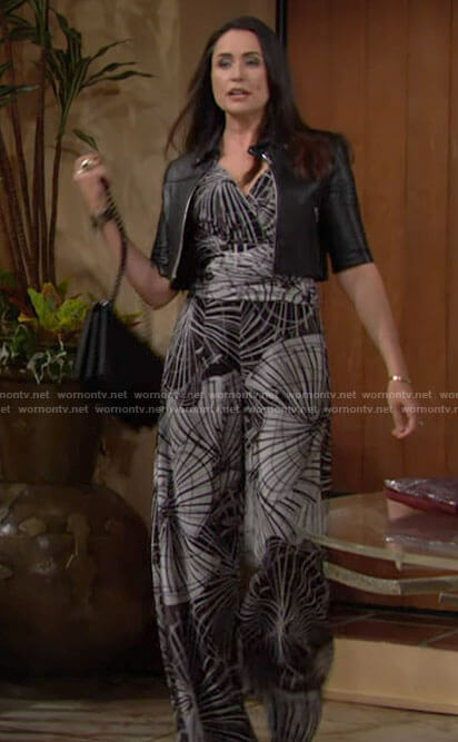 Quinn's black and white printed jumpsuit and leather jacket on The Bold and the Beautiful