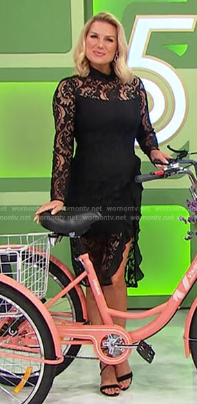 Rachel's black lace long sleeved dress on The Price is Right