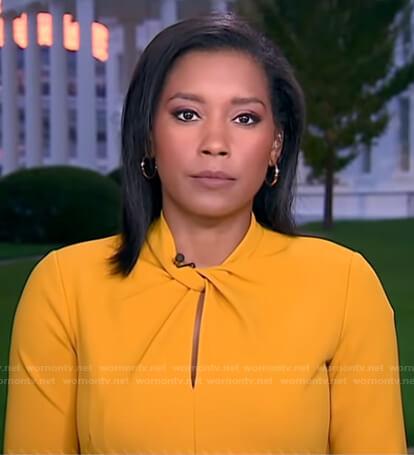 Rachel Scott's yellow twisted neckline dress on Good Morning America
